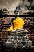 The ancient Buddha at wat-yaichaimongkol ayutthaya Thailand poster