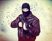 terrorist portrait and background explosion poster