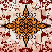 Symmetry ornamental design over triangles background with blots poster