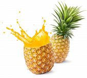 pineapple juice splashing out from its fruit poster