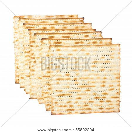 Multiple matza flatbreads lying one over another