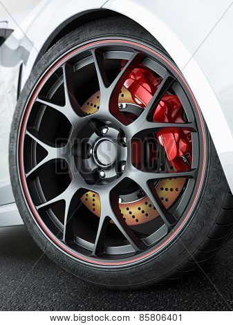 Car Wheel With Red-hot Brakes