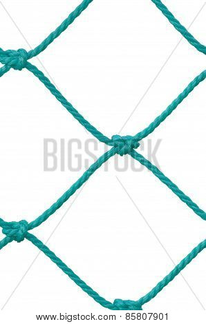 Soccer Football Goal Post Set Net Rope Detail New Green Goalnet Netting Ropes Knots Pattern Vertical