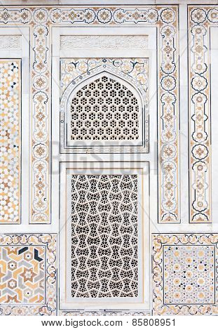 Wall Decoration At The Tomb Of I Timad Ud Daulah In Agra, Uttar Pradesh, India
