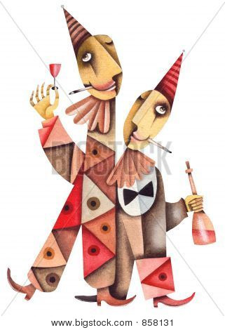 Two clowns drink wine. Illustration by Eugene Ivanov