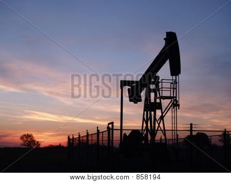 Silhouette of Oil Well Pumpjack