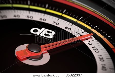 Decibel measurement. Gauge with green needle pointing 105 dB concept of noise level poster