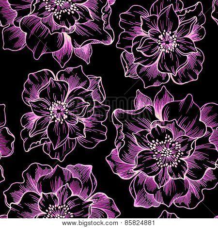 Seamless Floral Outline Pattern On Black