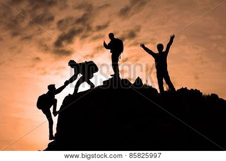 climbing team silhouette