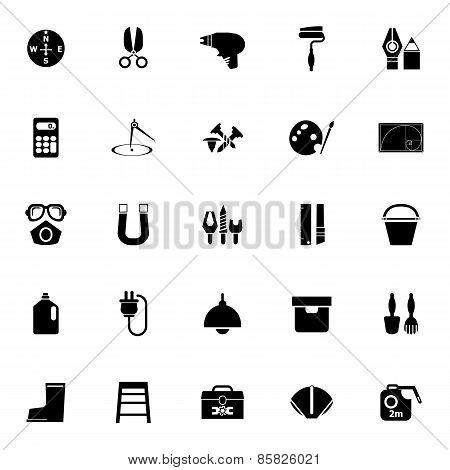 Diy Tool Icons On White Background