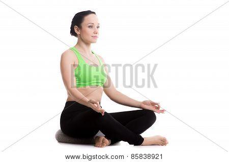 Sukhasana Yoga Pose With Pillow