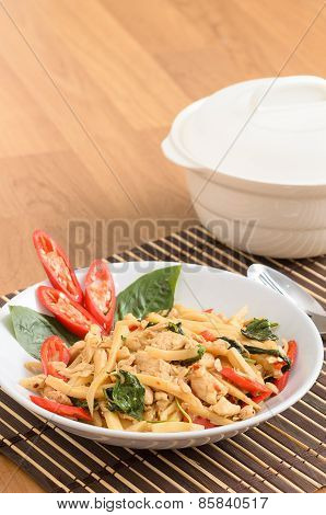 Stir Fried Spicy Chicken With Bamboo Shoots