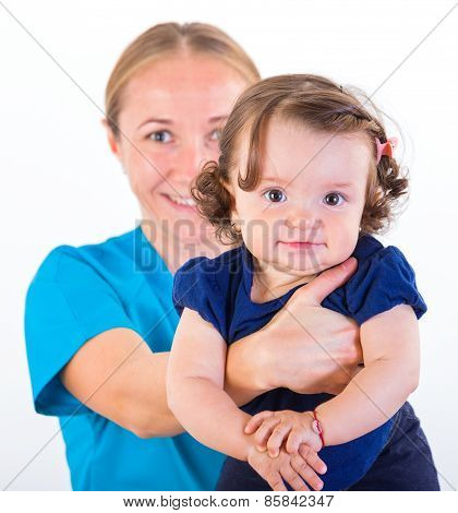 Adorable Baby And Babysitter