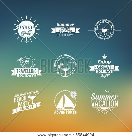 Set Of Summer Retro Design Elements. Vintage Ornaments And Labels, Tropical Paradise, Beach Vacation