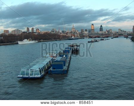 River Thames and the city ceter at dusk, London, England