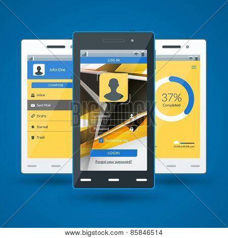 Modern Smartphone. Flat Design Template For Mobile Apps