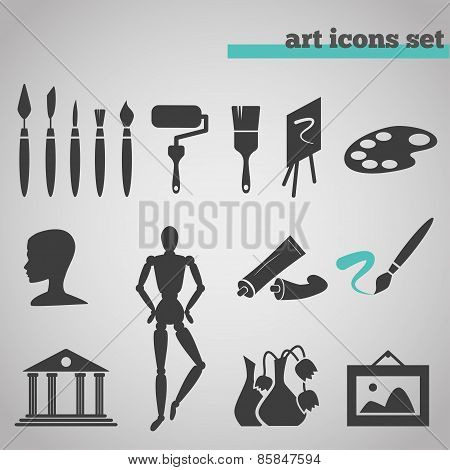 vector illustration icons set of art supplies and instruments for painting, drawing. sketching isolated on grey background. poster