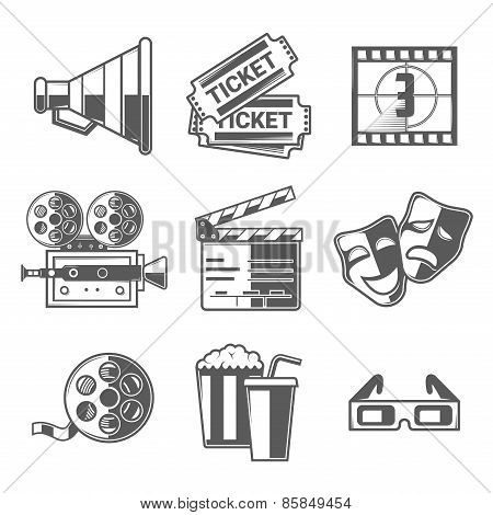 Cinema Icons Set (megaphone, Tickets, Countdown, Camera, Clapper Board, Masks, Bobbin, Popcorn And D