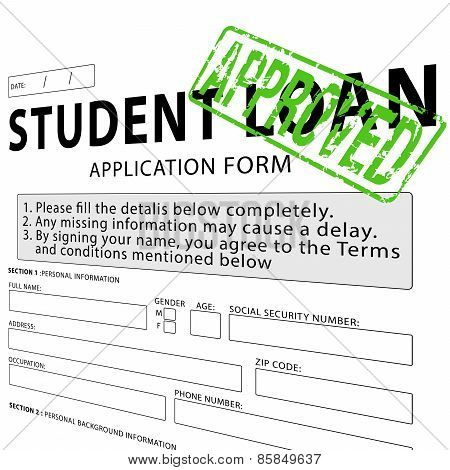 Student loan application form with green approved rubber stamp
