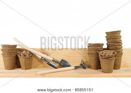 Garden Tools With Peat Pots