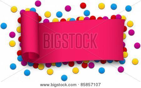 Magenta curled ribbon over confetti. Vector illustration.