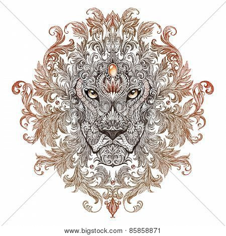 Tattoo, Graphics Head Of A Lion With A Mane