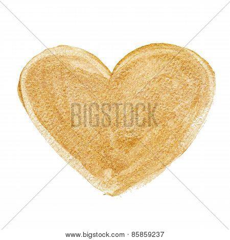 Gold acrylic heart. Hand drawn.