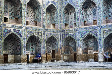 SAMARKAND, UZBEKISTAN - MARCH 14, 2015: Courtyard by Sherdor Madrasah (built in 1619-1636). It is one of the foremost interesting place in Central Asia