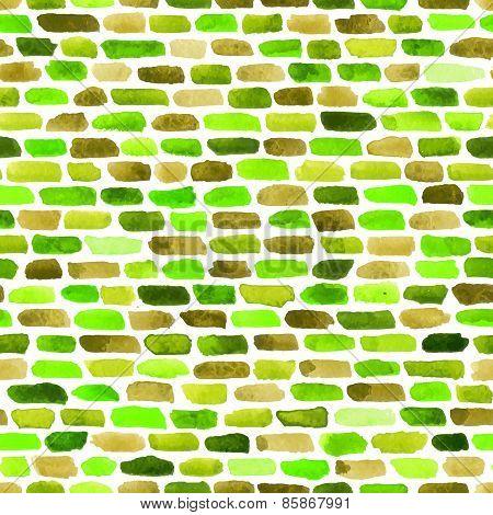 Watercolor Bricks. Vector Abstract Seamless Pattern.