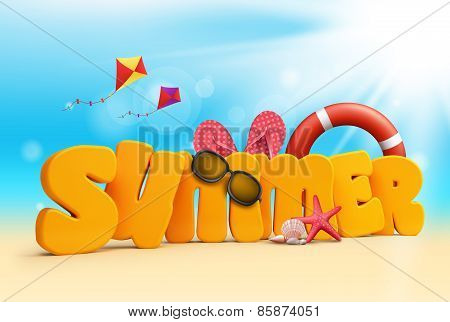 Summer 3D Dimensional Texts Standing in Beach Sand with Sky and Sun Rays Background with Flying Colorful Kites, Lifebuoy, Starfish, Sunglasses, corals, and Slippers. Vector Illustration poster