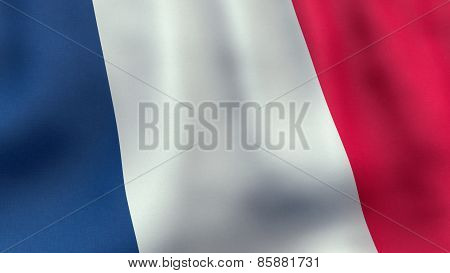 3D rendered waving French flag