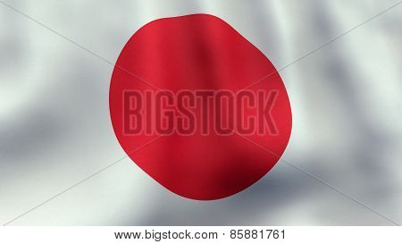 3D rendered waving Japanese flag