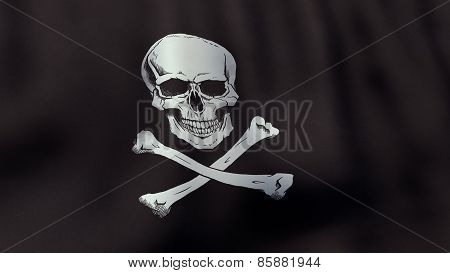 3D rendered waving Jolly Roger pirate flag