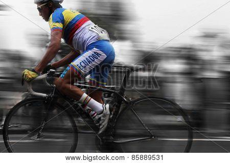 Ecuaforian Cyclist in motion