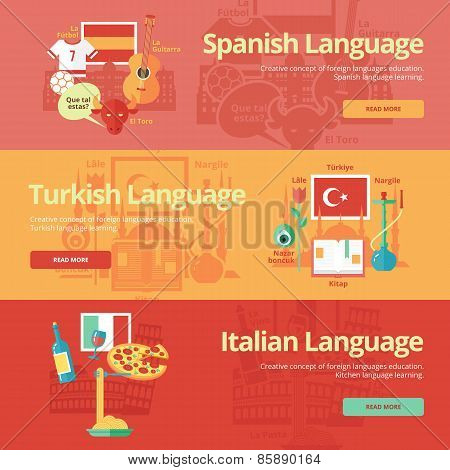 Flat design banners for spanish, turkish, italian. Foreign languages education concepts for web bann