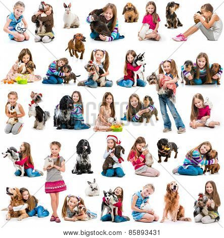photo collage of a girl with with  dog and rabbit  isolated on white background