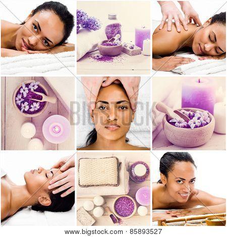 Collage of photos girl in spa salon enjoys massage
