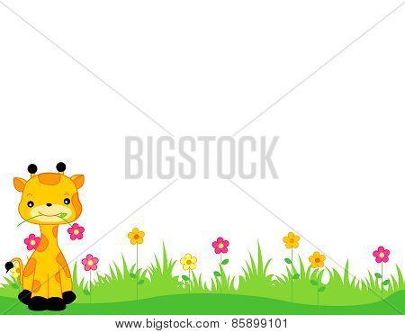 Cute Giraffe On Flower Bed