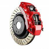 Automobile braking system. Aeration steel brake disk with perforation and red six pistons calipers and pads. Tuning auto parts. Isolated on white background 3d. poster