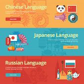 Flat design banners for chinese, japanese, russian. Foreign languages education concepts for web banners and print materials. poster