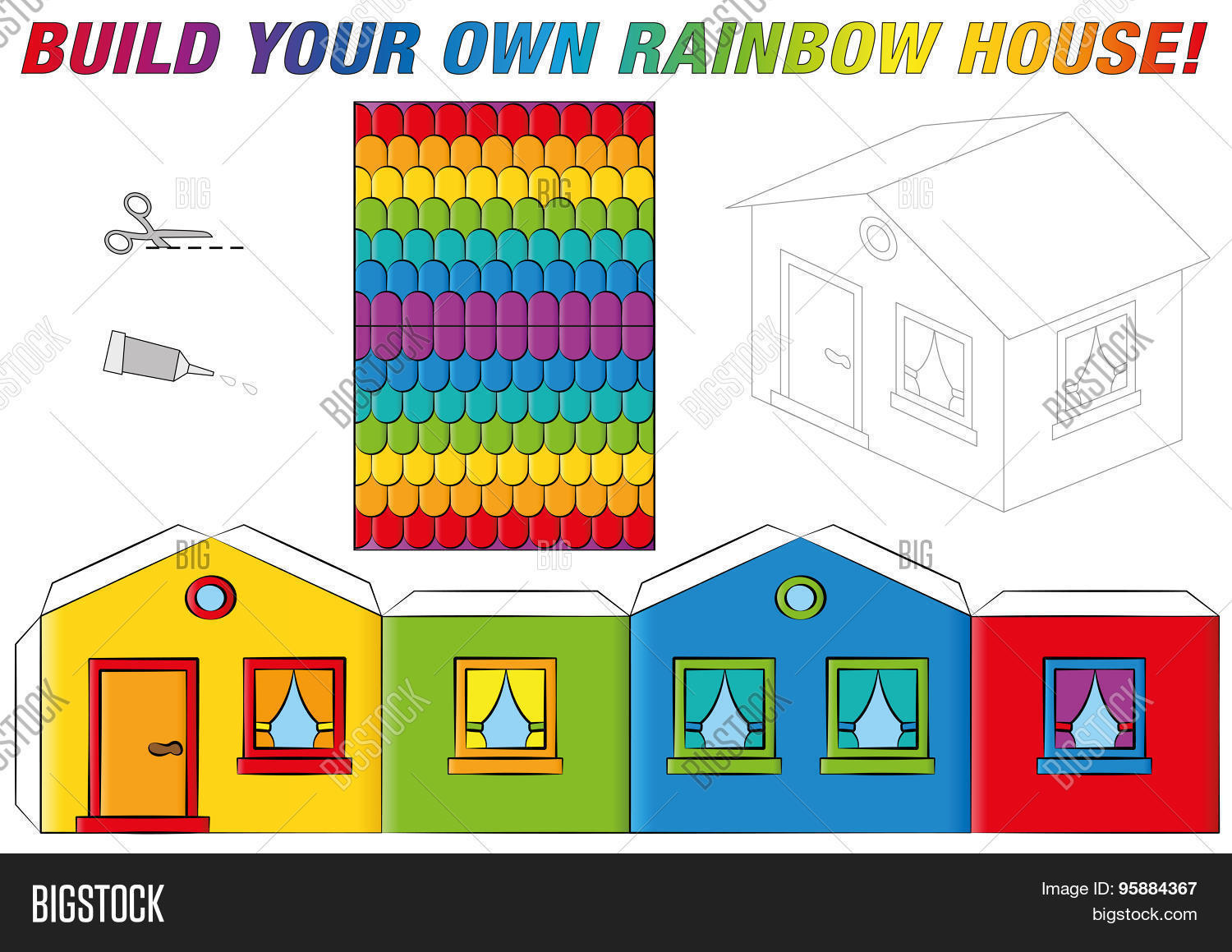 paper model house template rainbow colors - Build Your Own Model House