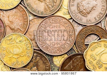 Antique Indian coins background