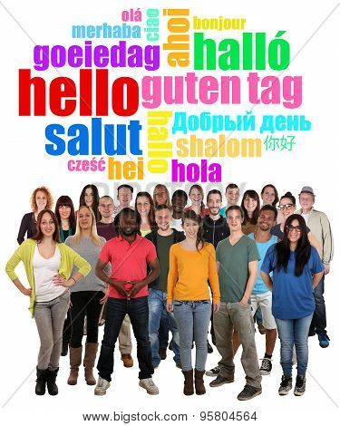 Large Multi Ethnic Group Of Smiling Young People Saying Hello
