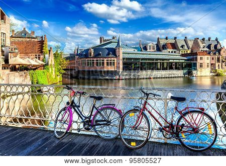 Bicycle is very common and popular transport in cities of Europe. Bicycles in european town street. Ghent, Belghium