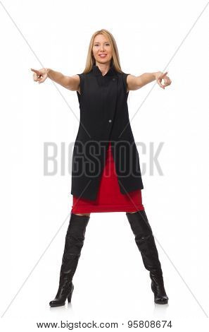 Pretty young girl in bordo skirt isolated on white poster