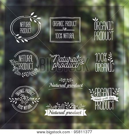 Logotypes set. Badges, labels, ribbons, plants elements, wreaths and laurels, branches. Organic, bio