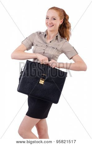 Pretty young employee with briefcase isolated on white poster