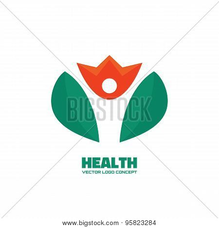 Health - silhouette human in flower - vector logo concept illustration. People logo.