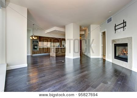 Large Empty Living Room With Fireplace.