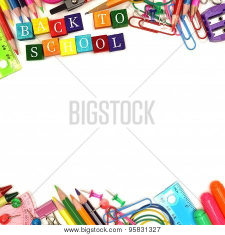 Back To School wooden blocks with double border